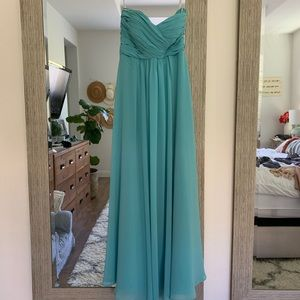 Bill levcoff teal blue strapless dress